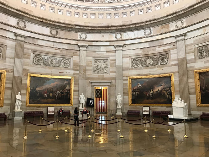 <p>In this interior Capitol Rotunda shot, the iPhone 7 Plus's wide angle lens produces high contrast levels (sharpness), lots of detail, and vivid colors. The iPhone 7 camera uses a new Wide Color Capture color space and a new image signal processor to create these results.</p>