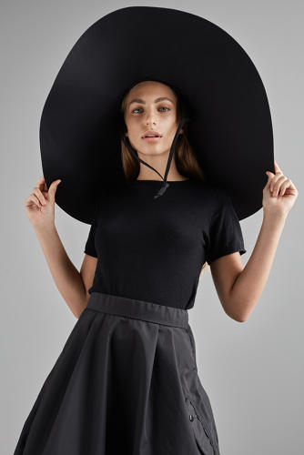 <p>All of her garments, except for this hat, are designed for biking. &quot;It's definitely for walking,&quot; Jorn says.</p>