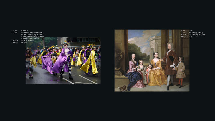 <p>Another photo of the Notting Hill festival (left) and <em>The Harvey Family</em> by Sir Godfrey Kneller (right).</p>
