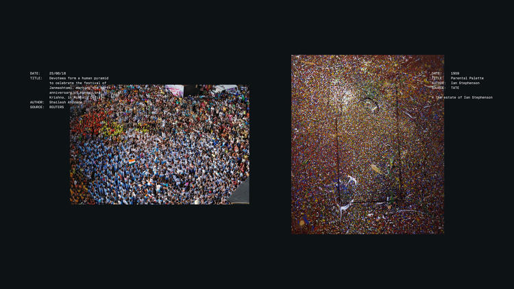 <p>Photo of the festival of Janmashtami in Mumbai, India (left) and <em>Parental Palette</em> by Ian Stephenson (right).</p>