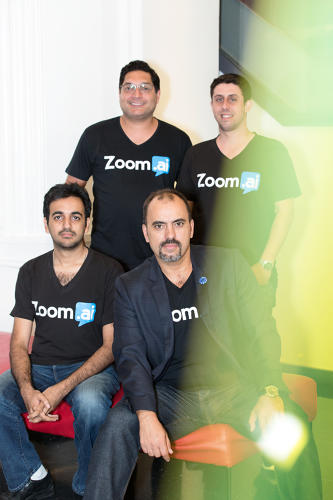 <p>Zoom.ai's CEO <strong>Roy Pereira</strong>, seated right, with (clockwise) <strong>Faisal Abid</strong>, <strong>Andre de Souza</strong>, and <strong>Matt Burns</strong></p>