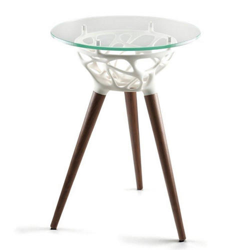 <p>Launched at Designjunction, the Rio table by Studio Integrate for the furniture company Morgan features a 3D-printed resin base. The sinuous lattice pattern is created by an algorithm and is slightly different for each piece produced.</p>