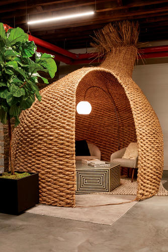 <p>This rattan cocoon was woven in the Philippines.</p>