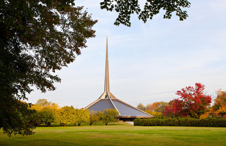 <p>10. North Christian Church by Eero Saarinen (completed by Roche Dinkeloo &amp; Associates), c. 1964</p>