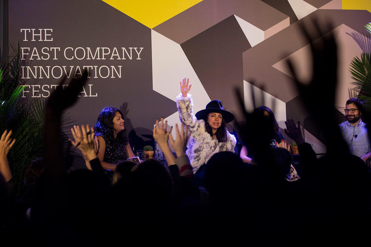 <p><em>Fast Company</em>'s Elizabeth Segran (far left) with Thinx's Miki Agrawal and Grindr for Equality's Jack Harrison-Quintana (far right).</p>