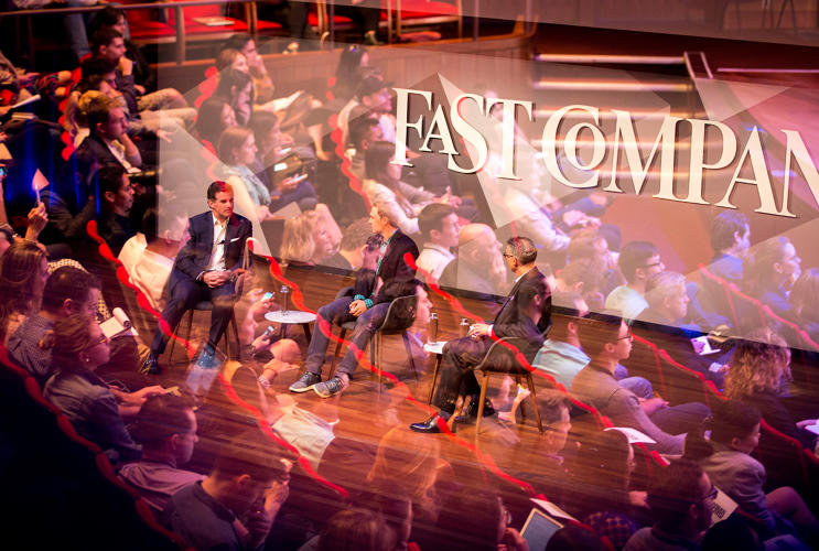 <p>Plank and Spieth during the Under Armour panel at Fast Company's 2016 Innovation Festival in New York</p>