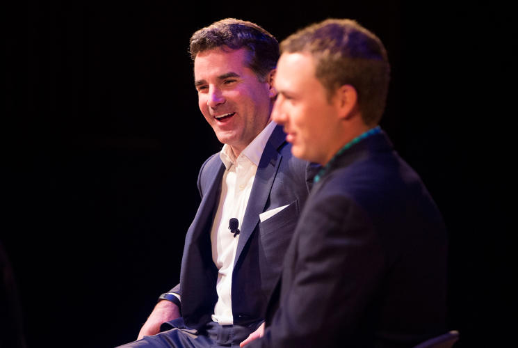 <p>Under Armour founder, CEO, and chairman Kevin Plank with golf pro Jordan Spieth</p>
