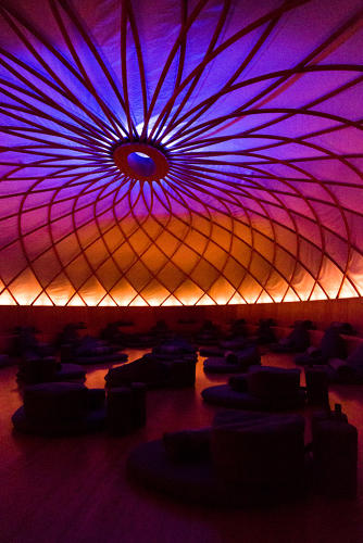 <p>Inside the Dome room, members listen to a pre-recorded meditation session from the Inscape app. App subscribers can also meditate on their own at home.</p>