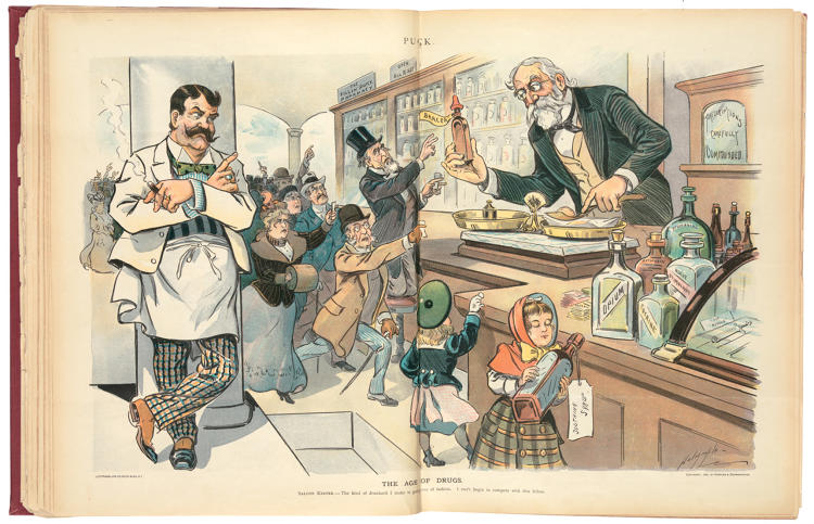 "<p>""The Age of Drugs"" (1900), a cartoon by Louis Dalrymple published in the satirical American magazine <em>Puck</em>, shows a pharmacist dispensing drugs, including arsenic, to an eager crowd. An advertisement on the wall announces ""The Kill 'em Quick Pharmacy,"" while the saloon keeper complains, ""I can't begin to compete with this fellow.""</p>"