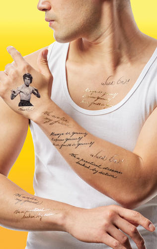 <p><strong>Tattly</strong> model wearing Bruce Lee's words and likeness</p>