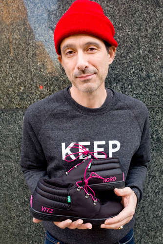 <p>Former Beastie Boy Adam Horovitz, showing off his collaboration with vegan shoe company Keep.</p>