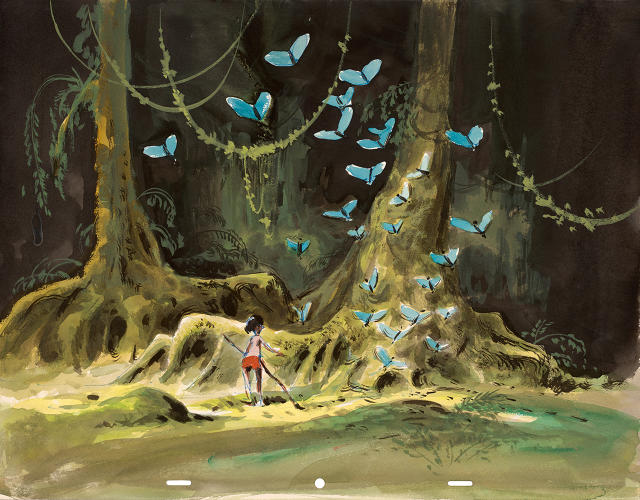 <p>In this concept piece from The Jungle Book, a swarm of butterflies perhaps symbolizes the freedom Mowgli hopes to enjoy in the jungle.</p>