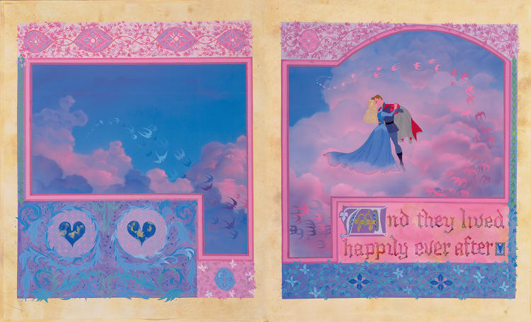<p>The final pages of the illuminated prop storybook as they appear in the film Sleeping Beauty drawn by Eyvind Earle</p>