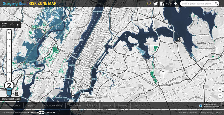 <p>Manhattan, Jersey, and North Brooklyn at 2 feet.</p>