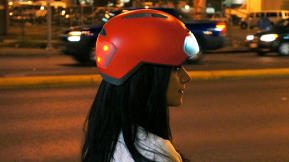 A Brightly Lit Bike Helmet Keeps Your Glowing Head Safe From Cars