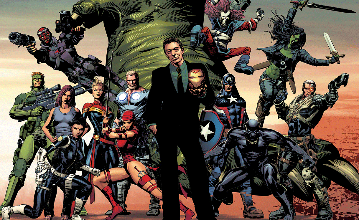 Solo, Foolkiller, Jessica Jones, Tremor, Capitã Marvel, Elektra, Thor Odinson, American Kaiju, Victor Von Doom, Slapstick , Steve Rogers, Pantera Negra, Gamora e Cable.